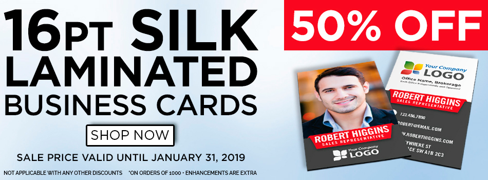 50% OFF 1000 Silk Matte Laminated Business Cards