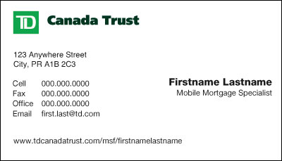 Td canada trust business cards reheart Choice Image
